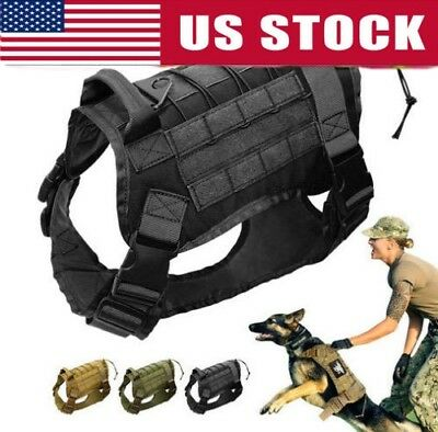 Pet Dog Vest No Pull Adjustable Military Tactical Training Nylon Harness S M XXL