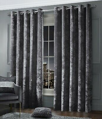 Luxury Crushed Velvet Curtain Pair Fully Lined Ring Top Eyelet Charcoal Grey