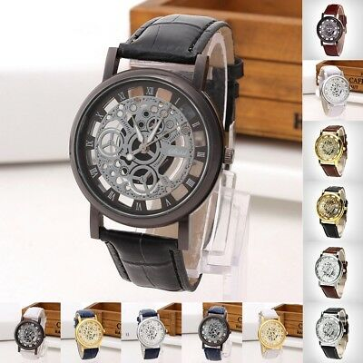 Men Women's Skeleton Stainless Steel Hollow Watch Leather Band Quartz Wristwatch