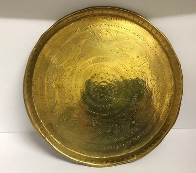 Antique Indo Persian islamic middle eastern brass tray Lions Hunting Deer, Birds