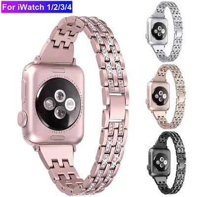 For Apple Watch Series 4 3 2 Watch Band Strap Metal Bling Wristband 38 44 42 40