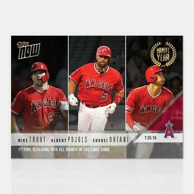 2018 Topps Now #moy-6 Trout/pujols/ohtani 1St Time Trio Homer In The Same Game
