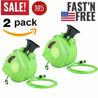 2X 65ft Wall Mounted Retractable Water Hose Reel Auto Rewind With Spray Gun BE