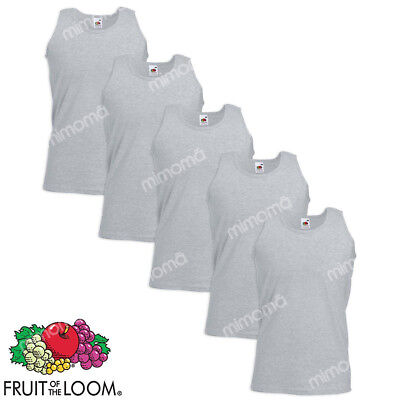 5 CANOTTE GRIGIE CANOTTIERE UOMO FRUIT OF THE LOOM  VALUEWEIGHT  taglie s-xxl