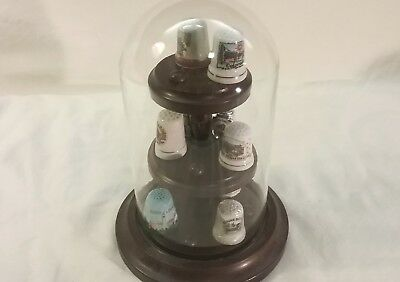 15 pcThimble Display Glass Dome Holder Wood Base Stand with 10 Thimbles