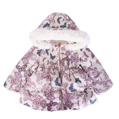 VERSACE YOUNG Down Jacket Size 12M Fur Trim Printed Hooded Made in Italy