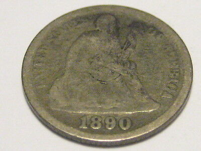 1890-P Seated Liberty Dime
