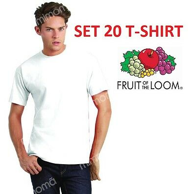 OFFERTA 20 T-SHIRT MAGLIE MAGLIETTE BIANCHE FRUIT OF THE LOOM set stock uomo