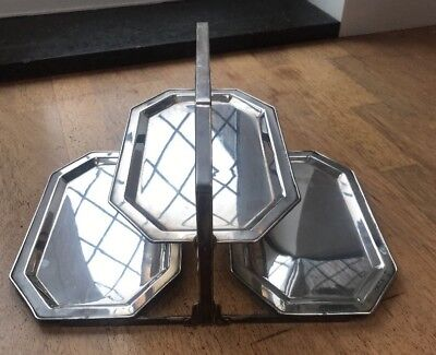 Art Deco Silver Plated Tiered Folding Cake Stand Tray @ 1930