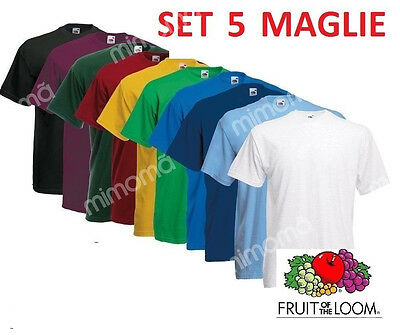 SET 5 T-SHIRT MAGLIE MAGLIETTE FRUIT OF THE LOOM Tutti colori in stock OFFERTA!