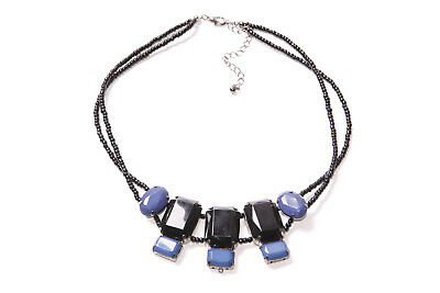 Stylish Lady Two Rows Black Beaded Necklace w Large Navy Blue&Black Beads (T298)