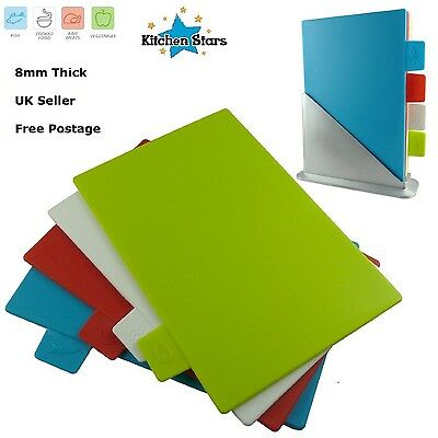 8mm Index Colour Coded Chopping Board Set 4 Cutting Boards Mat Worktop + Stand