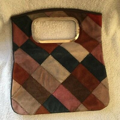Vintage original 60s 70s patchwork suede leather handbag