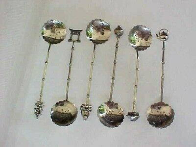 Set of 6 Sterling Silver 950 Demitasse Spoons Asian Motif