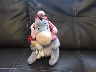 Collectable Soft Plush Winter Eeyore Toy Holding Snowman Disney Store Exclusive