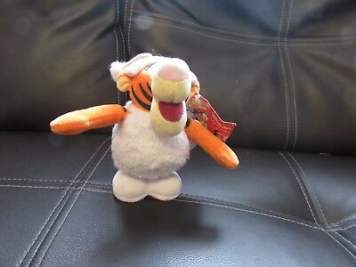 Collectable Soft Plush Wind Up Hopping Wnter Tigger Toy Disney Store Exclusive