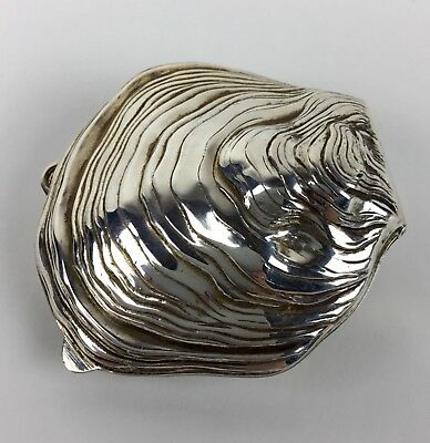 Italian 800 Silver Figural Oyster Shell Box Pill Similar To Sterling Fine Detail