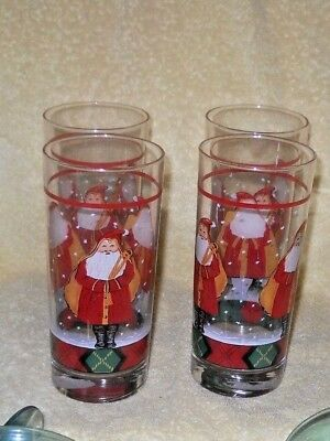 Block Gear Father Christmas 15 oz. Highball Glasses Set-4 NEW with Sticker