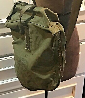Vintage 1966 US Army Military Green Canvas US Survival Kit Hot Climate Zip Bag