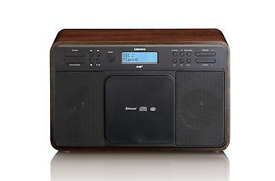 Lenco DAR-040 Walnut | Stereo DAB+/FM Radio/Bluetooth And Front Loading CD With