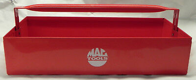 """MAC Red Metal Tool Tray 20""""x10""""x4.5"""", Drop Down Handle, Caddy Carrier Tote, Exc."""