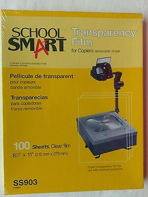 """100 Sheets School Smart Transparency Film Sealed 8.5"""" x 11"""" Removable Stripe"""