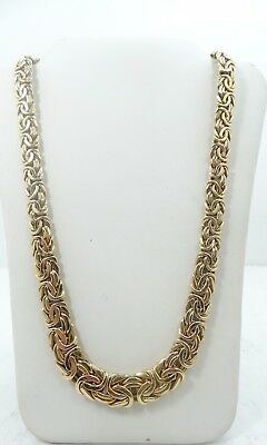 Classy 14K Yellow Gold 7.3mm Wide Byzantine Necklace 17 Inch A8821