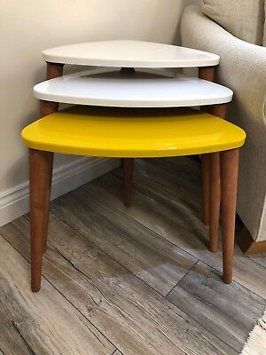 Nest of Tables set of 3 High Gloss Side Lamp Coffee Tables Modern design Retro