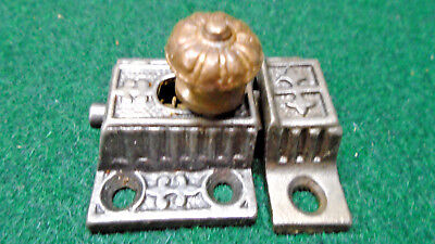 VINTAGE EASTLAKE CABINET LATCH w/ BRASS KNOB and with KEEPER   (5930-8)