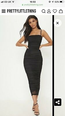 c0f66427227 PRETTY LITTLE THING Black Strappy Mesh Ruched Midaxi Dress - £15.00 ...