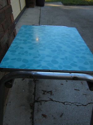 Vintage 1950-60's Child's Blue Formica / Chrome Table Retro