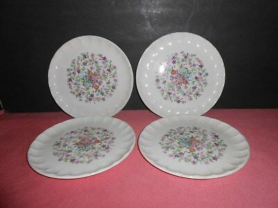 Vintage 1914 W.S. George Bolero Fiesta Floral Flowers 4 Lunch Plates