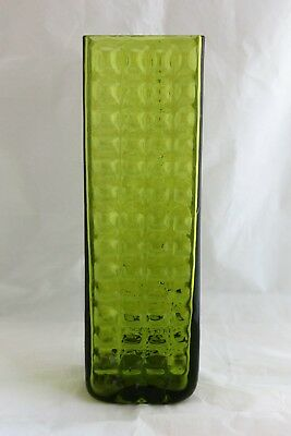 Very Rare Vintage Mid Century Blenko Art Glass Green Waffle Vase Signed