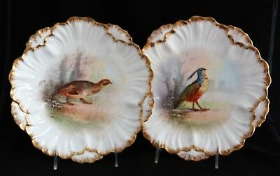 Antique Ls&s Limoges France Hand Painted Game Bird Scenic Cabinet Plates