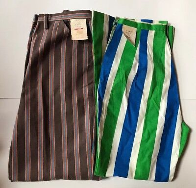 Vintage Lot Of 2 Multi-Colored Striped Flare Pants/ Bell Bottoms Size 10 & 12