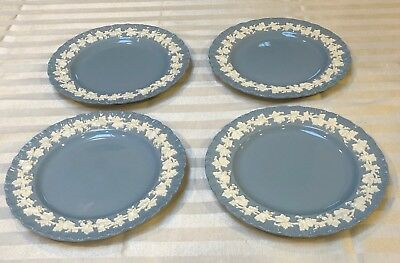 Wedgwood Embossed Queensware Cream Lavender Smooth 4 SALAD PLATES  DATE 1951
