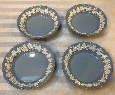 Wedgwood Embossed Queensware Cream Lavender Smooth 4 DESSERT BOWLS  DATE 1951
