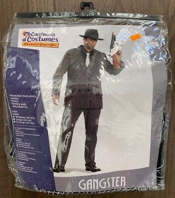 Gangster Adult Costume Pinstripe Suit Mob Mafia California Costumes