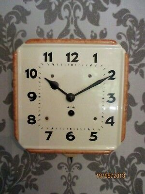 Lovely  Hamburg American Clock Co.  Ceramic 8 Day Mechanical Wall Clock, 1950s.