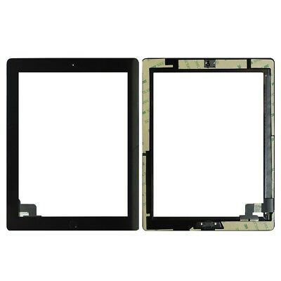 For iPad 2 Black Digitizer Replacement Screen Front Touch Glass Adhesive Button