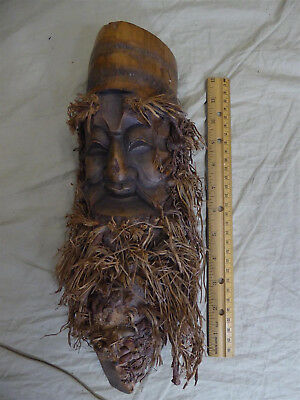 "Vintage Hand Carved Wood 13"" Mask/Wall Hanging -Bearded Man/Face Beard -Ukraine"