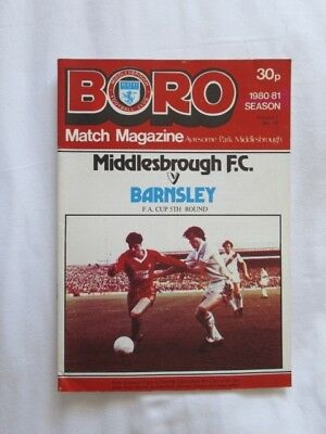 Football Programme Middlesbrough v Barnsley FA5 1980/81