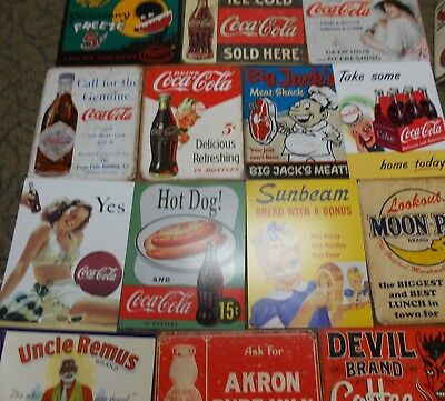 "Beverage & Food Themed Tin Signs. 12.5"" x 16"".  Reproductions. Many to choose"