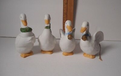 Homco Set of 4 White Porcelain Christmas Geese Ornaments  #5255   Retired
