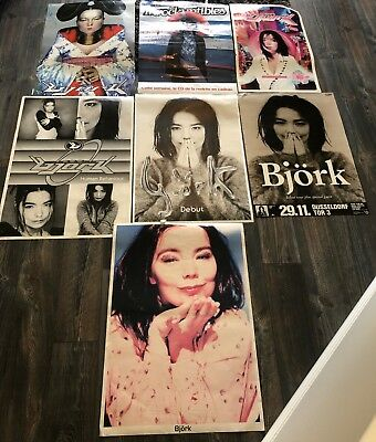Lot of 7 Vintage Bjork Posters     Estate Sale Find! Free USA Shipping!