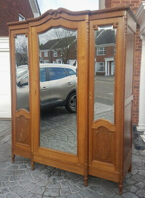 Vintage French Carved 3 door Armoire Wardrobe