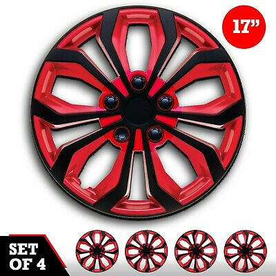 """17"""" inch Hub caps CAR+ """"SPA"""" ABS RED AND BLACK Easy to install Set of 4 pieces"""