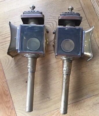 Pair Brass & Copper Carriage Lamps -Limehouse Lamp Company