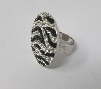 Sterling Silver Black and White Crystal Ring, Size 7 - LOT OF 9