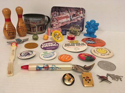 Vintage Junk Drawer Lot - 25+ Pieces - Buttons - Pins - Toys - Bowling & More!